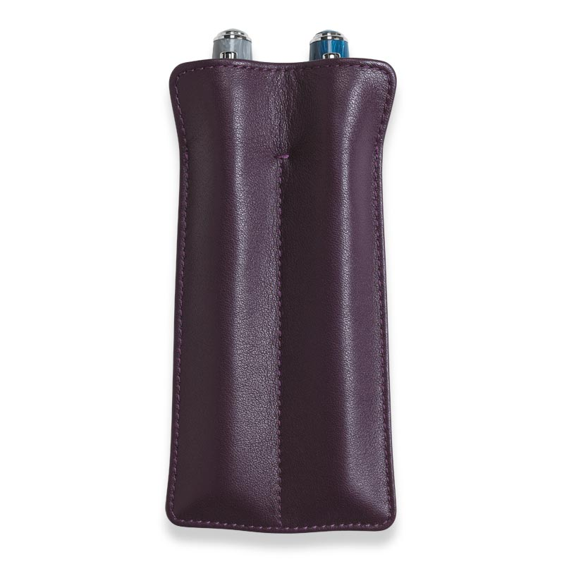 Carezza Double Pen Sleeve , Eggplant