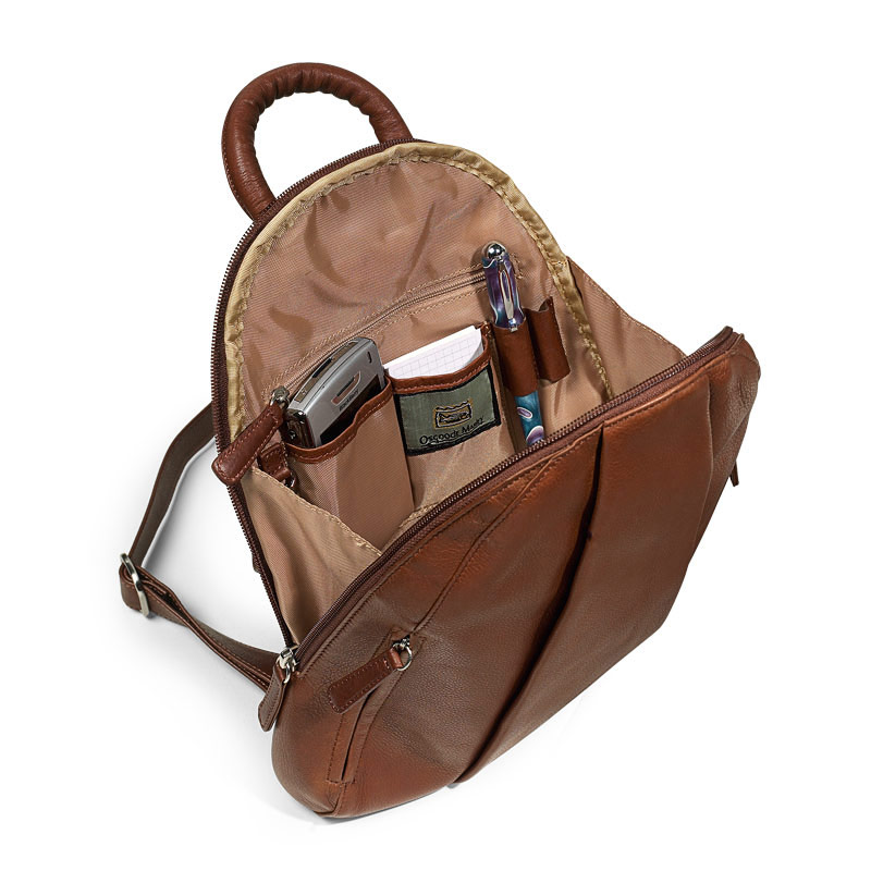 Marley Teardrop Multi-Zip Backpack, Brown