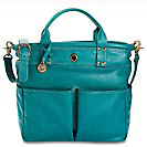 St. Tropez Leather Tote Bag,Teal