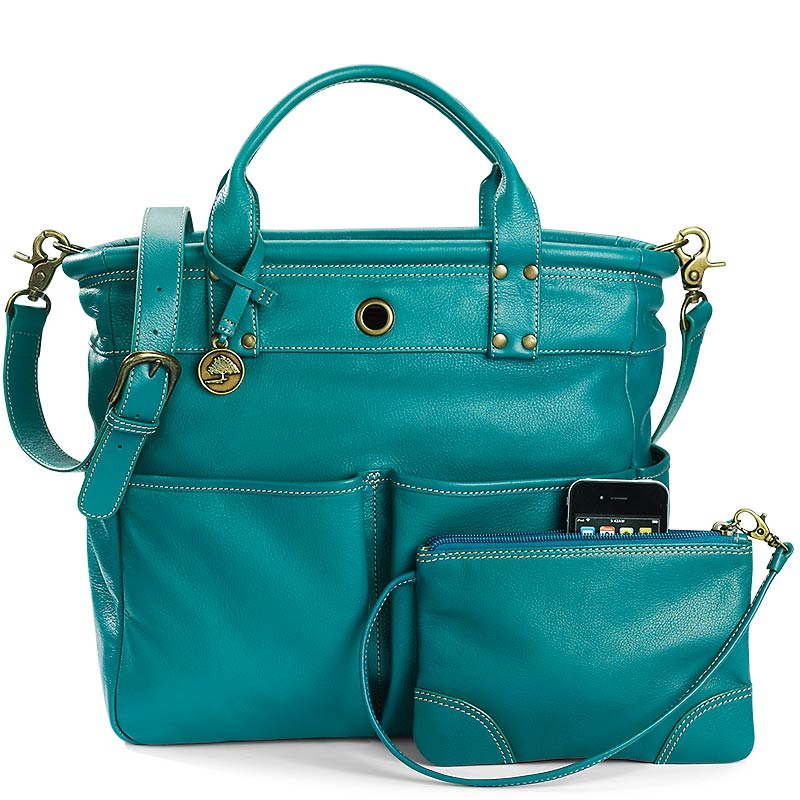 St. Tropez Leather Tote Bag and Pouch, Teal