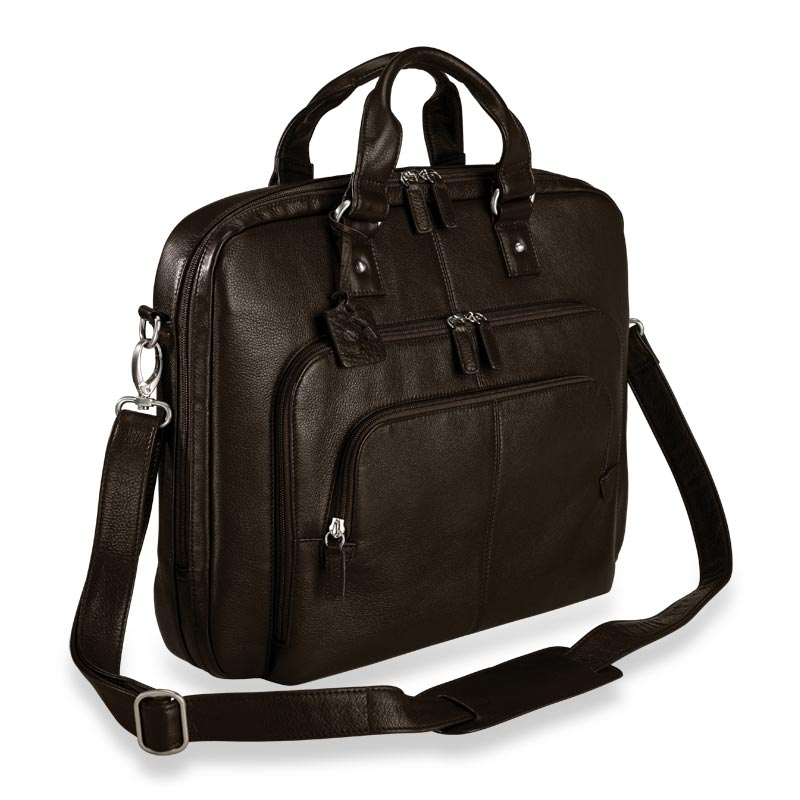 Triple-Zip Briefbag, Espresso