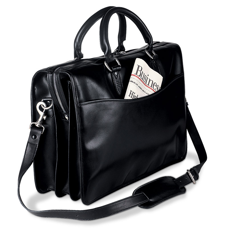 Cambridge Briefbag with Laptop Sleeve, Black