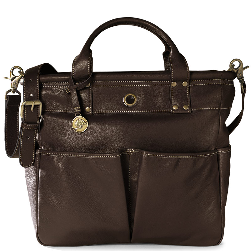 St. Tropez Leather Tote Bag, Chocolate