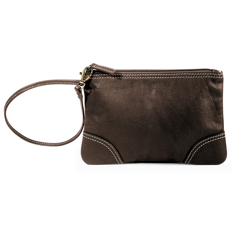 St. Tropez Leather Pouch, Chocolate