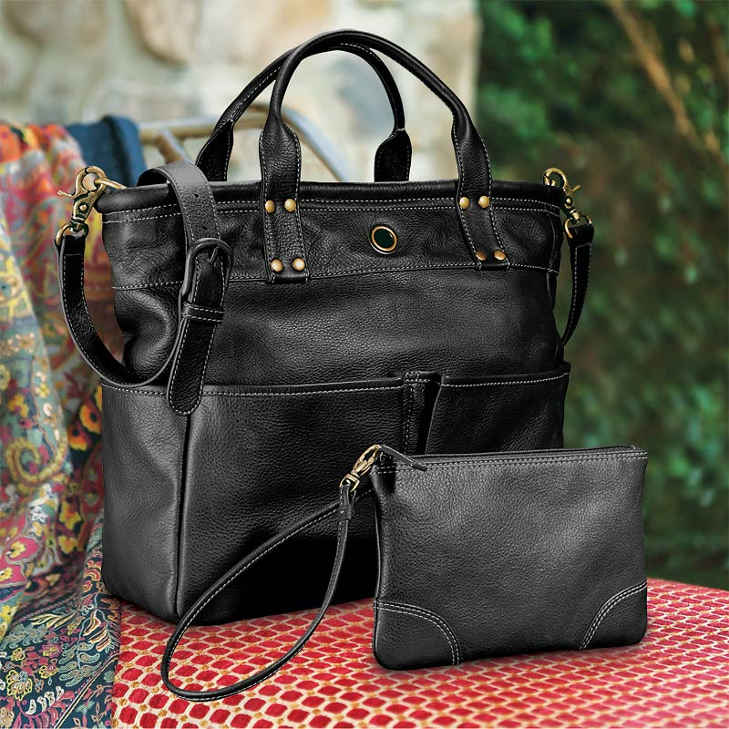 St. Tropez Leather Tote Bag and Pouch, Black