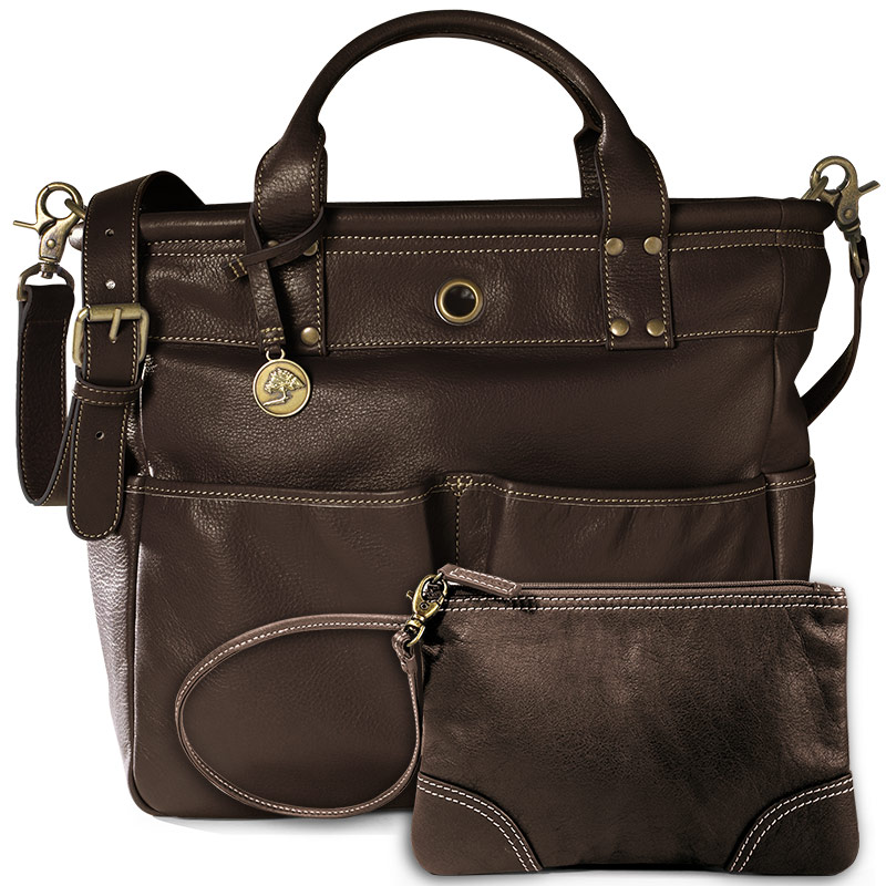 St. Tropez Leather Tote Bag and Pouch, Chocolate