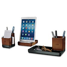 Enamel and Wood Desk Set (3 pieces)
