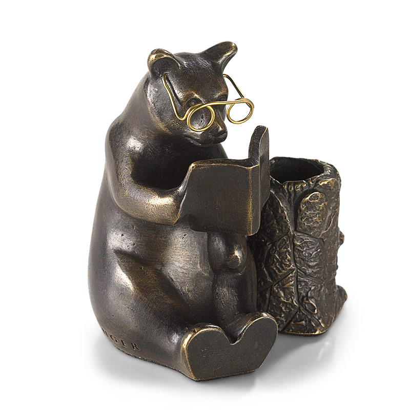 Bronze Reading Bear Pen Stand