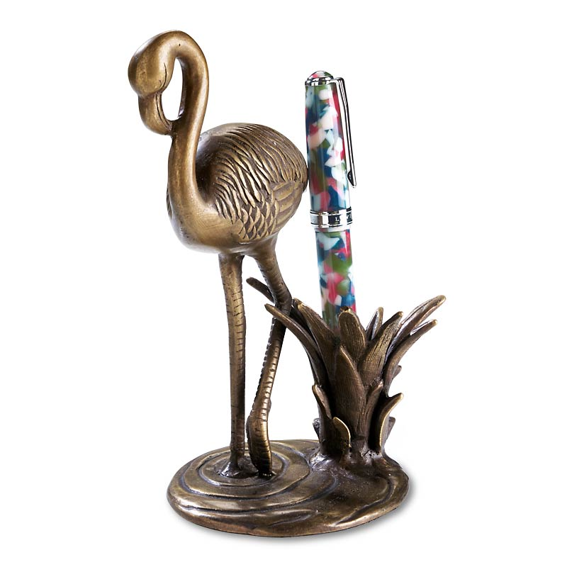Bronze Flamingo Pen Stand