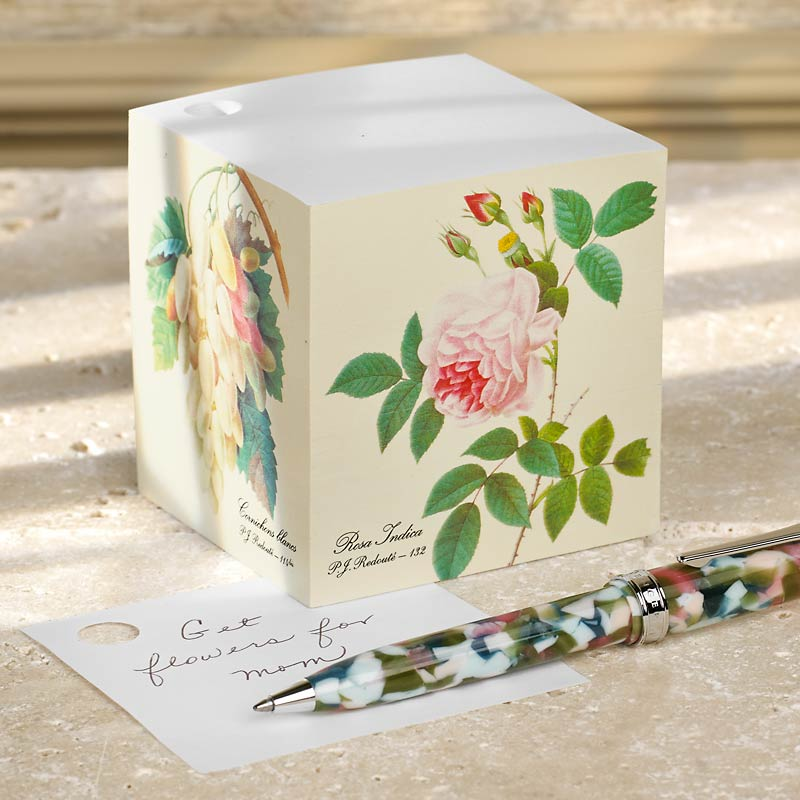 Redouté Note Cube and True Writer® Bouquet Ballpoint