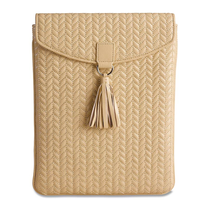 En Vogue Quilted iPad Envelope, Beige