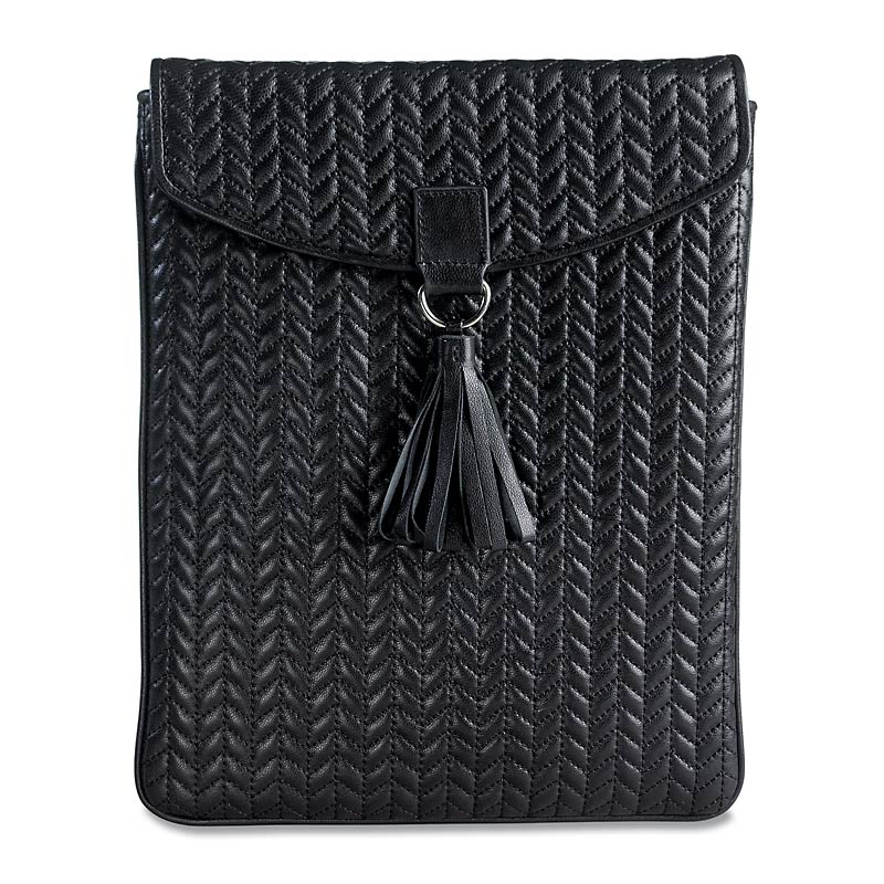 En Vogue Quilted iPad Envelope, Black