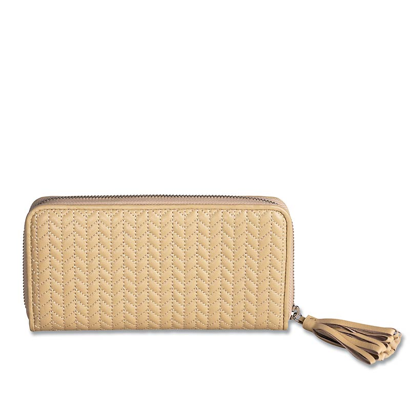 En Vogue Quilted Accordion Wallet, Beige