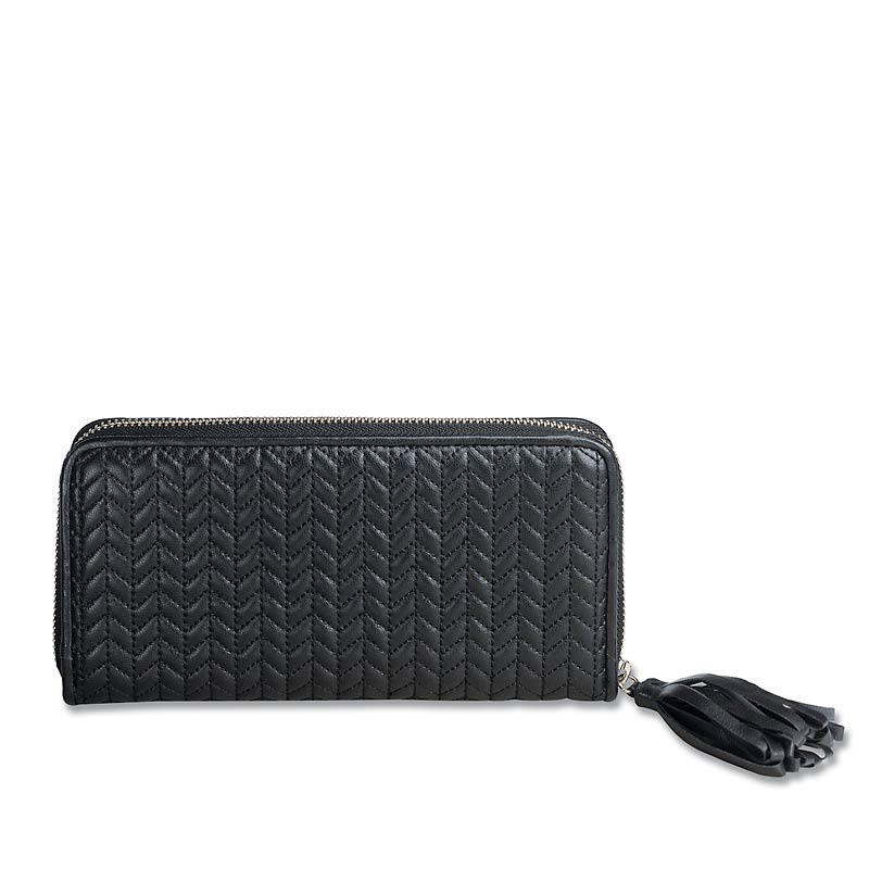 En Vogue Quilted Accordion Wallet, Black