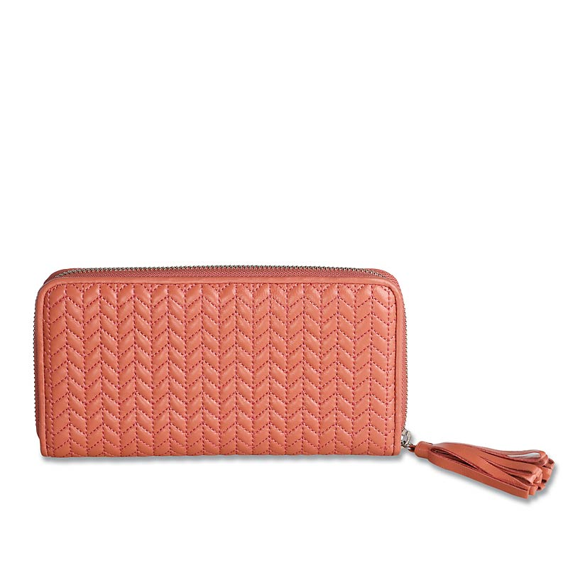 En Vogue Quilted Accordion Wallet, Coral