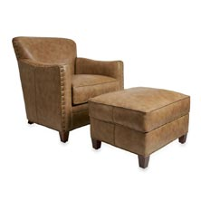 Levenger Leather Cardroom Chair & Ottoman - Chestnut Mare