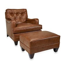 Levenger Leather Club Chair & Ottoman - Penny Lane