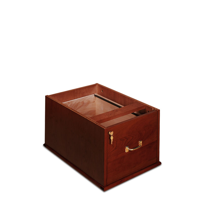 Stackable Vertical Drawer with Lock, Dark Cherry