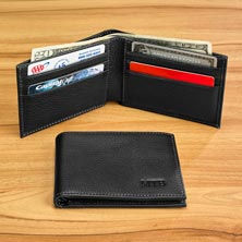 Bomber Jacket Slim Wallet with RFID Protection - Black