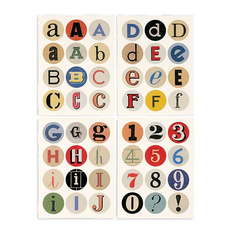 Vintage Alphabet Stickers