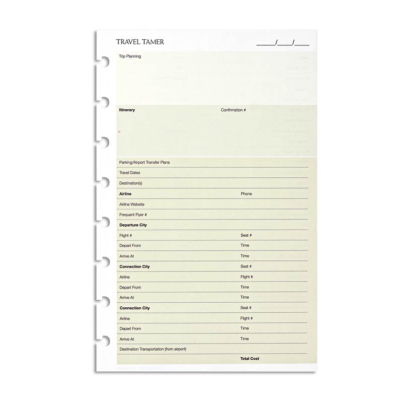 Travel Tamer app - consolidate info for each trip onto one sheet - Junior