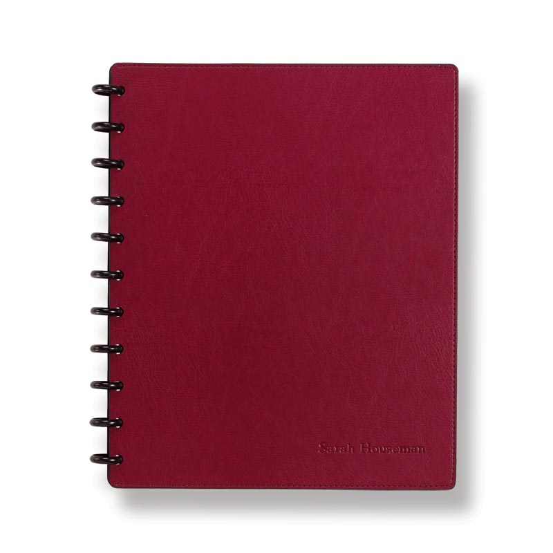 Circa Smooth Sliver Notebook with Pockets,Claret, Letter