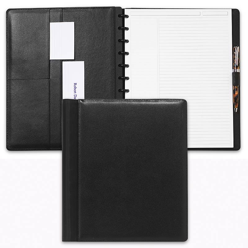 Leather Circa Wrap Notebook, Black, Letter