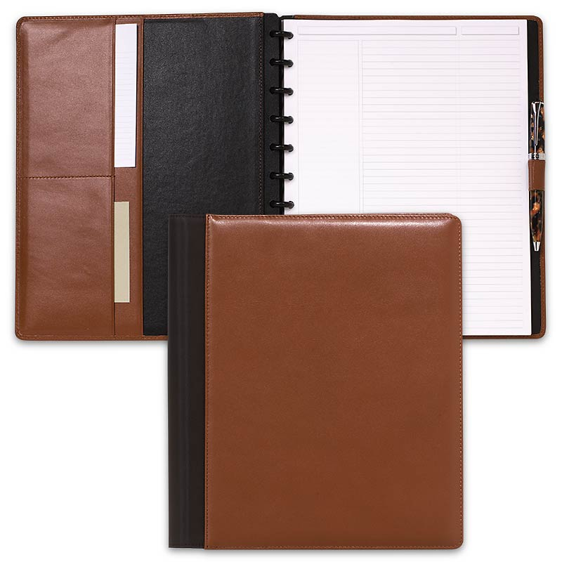 Leather Circa Wrap Notebook, Saddle, Junior