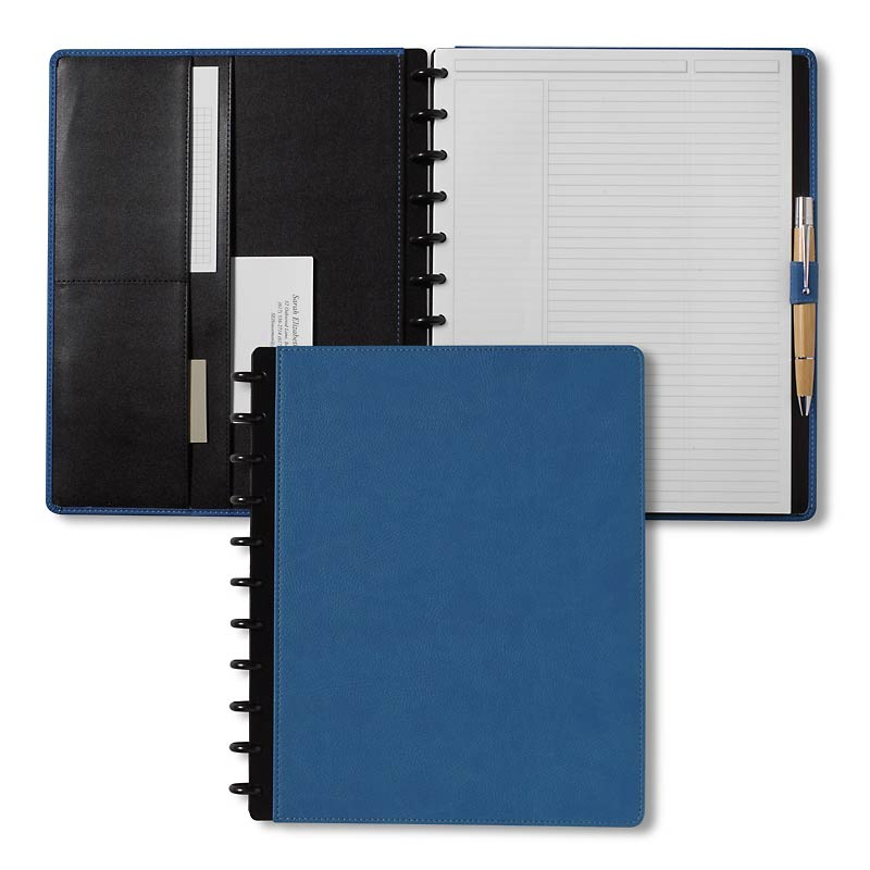 Circa Pebbled LevTex™ Foldover Notebook, Blue