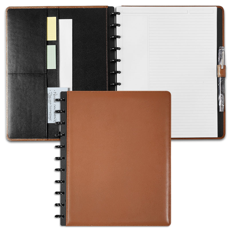Circa Leather Foldover Notebook, Saddle, Letter