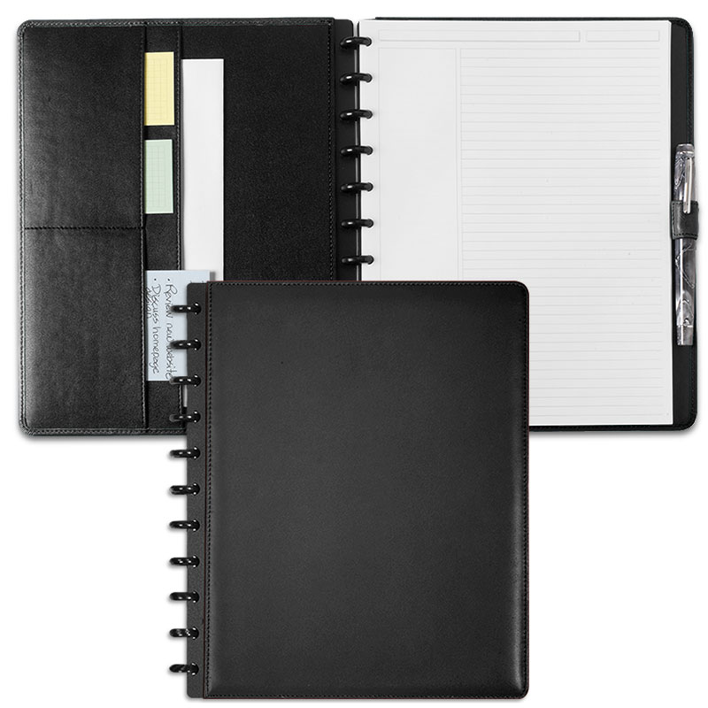 Circa Leather Foldover Notebook, Black, Letter
