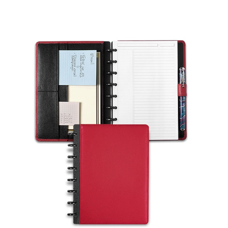 Circa Leather Foldover Notebook, Red, Junior