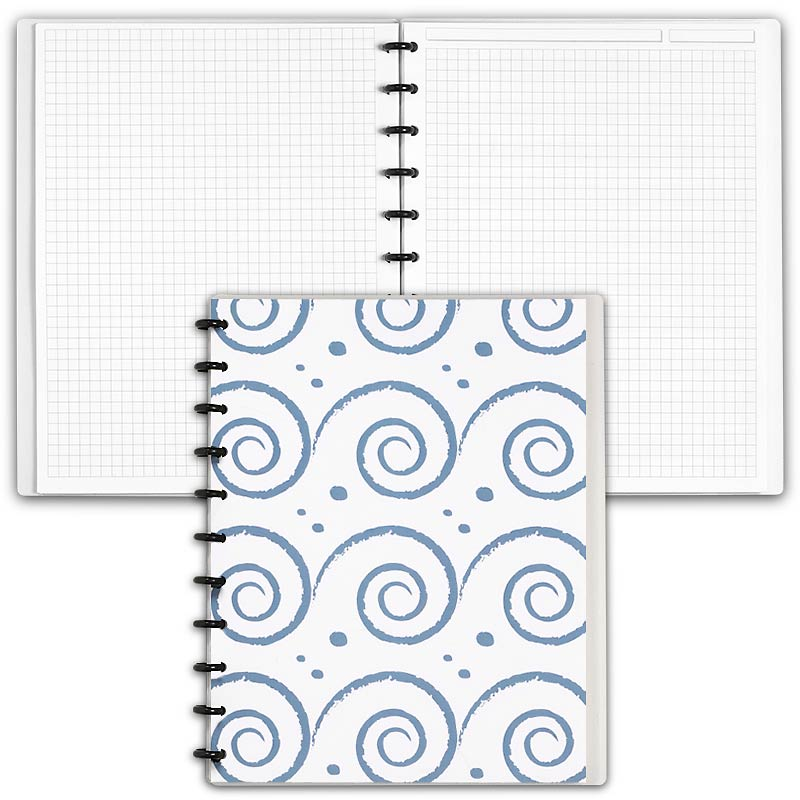 Special Request™ Circa Personalized Notebook, Full-Page Grid, Waves, Letter