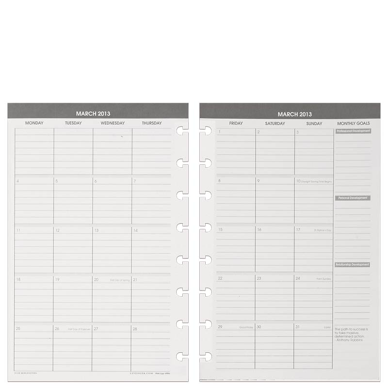 Circa Balanced Life Planner Refill, Junior Gray (Jan.–Mar. 2013)