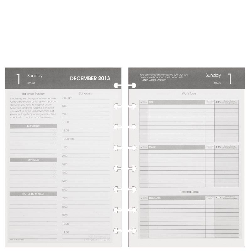 Circa Balanced Life Planner Refill, Junior Gray (Oct.–Dec. 2013)