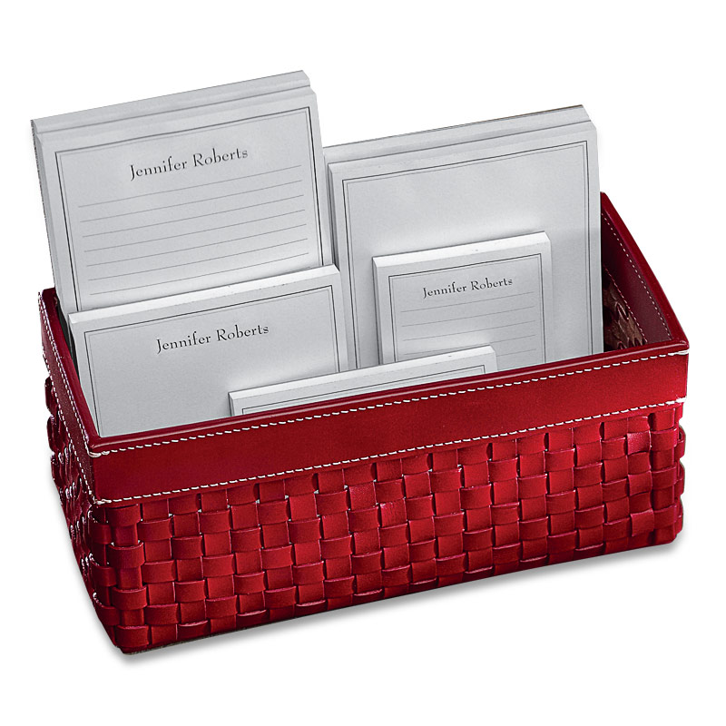 Personalized Pads in a Basket, Red