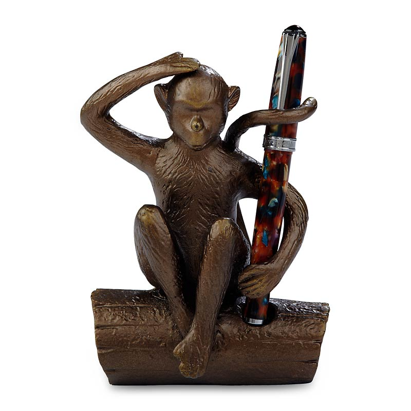 Bronze Monkey Pen Holder