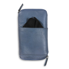 Raffinato Double Zip Eyeglass Case Blue With Mono