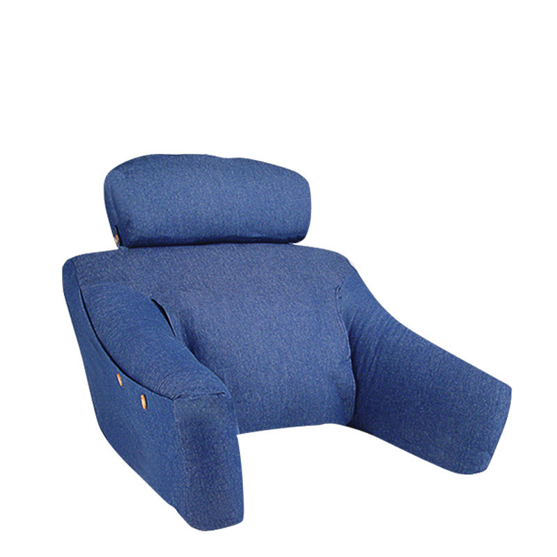 BedLounge® Pillow in Natural with Denim Slipcover