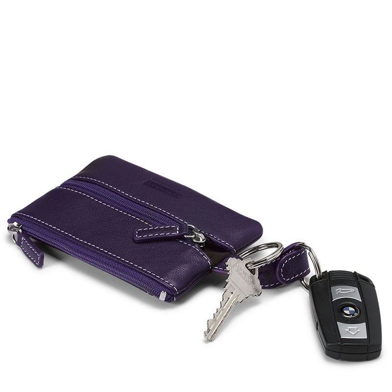 Carezza Coin & Key Case, Eggplant