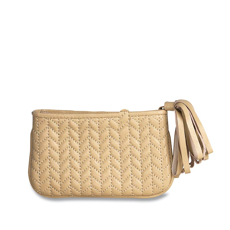 En Vogue Quilted Pouch, Small, Beige