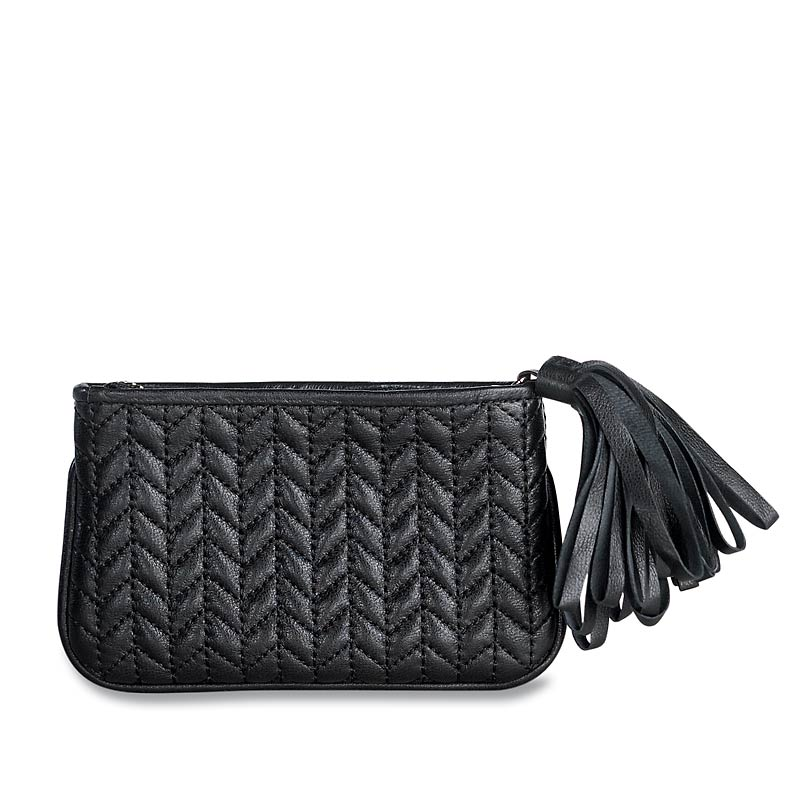 En Vogue Quilted Pouch, Small, Black