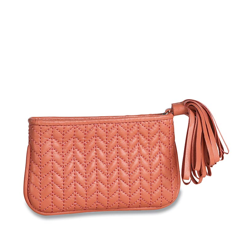 En Vogue Quilted Pouch, Small, Coral