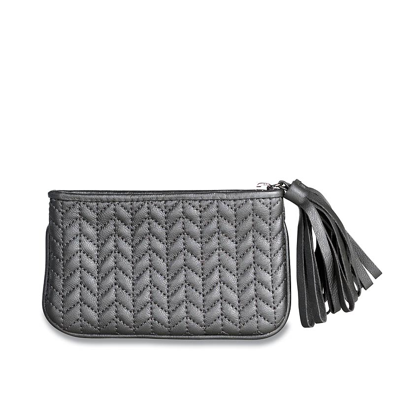 En Vogue Quilted Pouch, Small, Silver