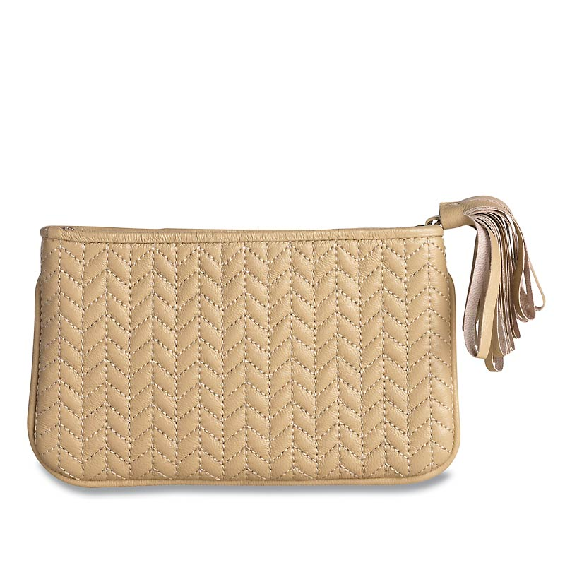 En Vogue Quilted Pouch, Medium, Beige
