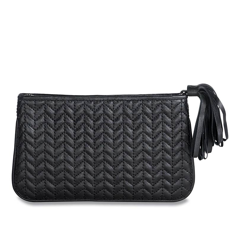 En Vogue Quilted Pouch, Medium, Black