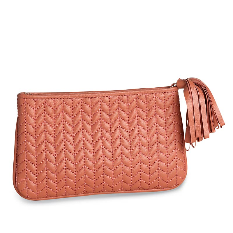 En Vogue Quilted Pouch, Medium, Coral