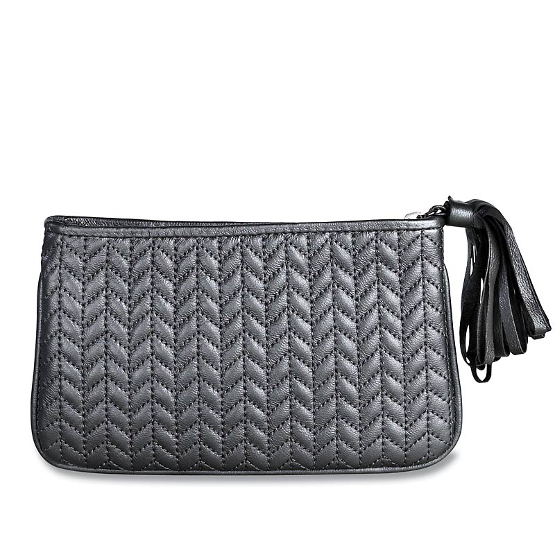 En Vogue Quilted Pouch, Medium, Silver