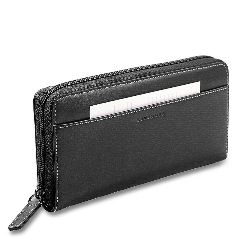 Accordion Wallet with Walletini Pen, Black