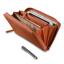 Raffinato Accordion Wallet with Walletini Pen, Sienna